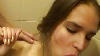 Public restroom fuck with sexy chick