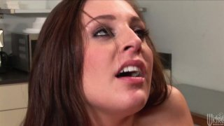 Skanky brunette chick Gracie Glam gets fucked hard in the kitchen